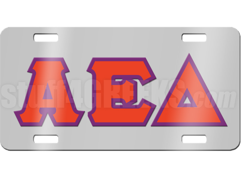 ... Delta License Plate with Red and Violet Letters on Silver Background