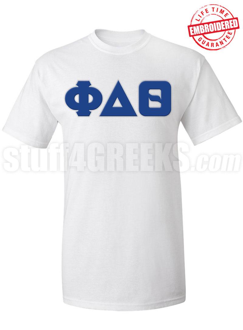 Phi delta theta greek letter t shirt white embroidered