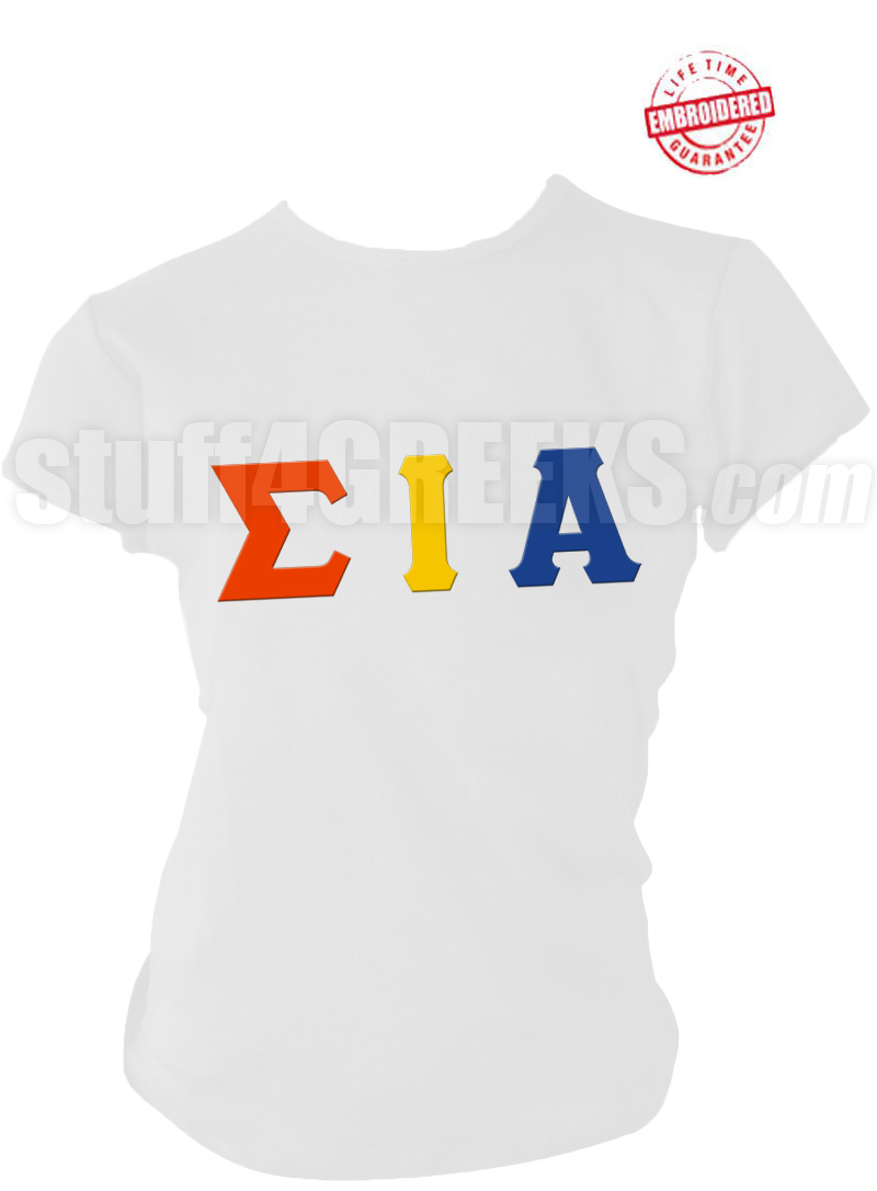 Sigma iota alpha greek letter t shirt red embroidered for Custom greek letter t shirts