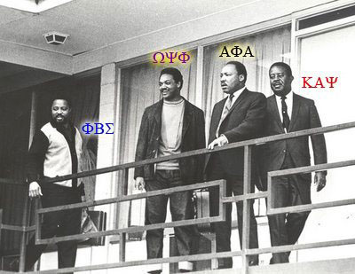 From left to right - Hosea Williams (Phi Beta Sigma), Jesse Jackson (Omega Psi Phi), Martin Luther King, Jr. (Alpha Phi Alpha), Ralph Abernathy (Kappa Alpha Psi) on the balcony of the Lorraine Motel - April 3, 1968.